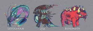 Leviathan, Ziz, and Behemoth by HappyChupacabra