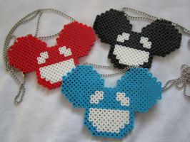 Deadmau5 Mouse Perler Necklaces by colbyjackchz