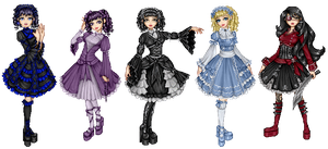 5 lolitas of varying style by Bitterkawaii