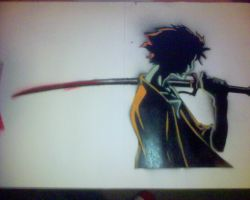 mugen stencil on paper by unkleshadow