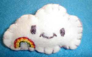 Embroidered Cloud Brooch by kiddomerriweather