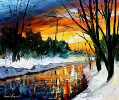 Afremov WINTER Original Art Oi by Leonidafremov