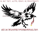 Raven With Ring Tribal Design by WildSpiritWolf
