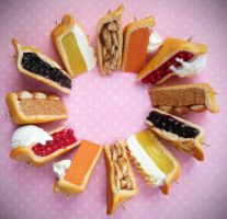 Polymer Clay Miniature Pie Slice Charms by ScrumptiousDoodle