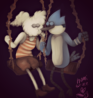 Mordecai and Cloudy Jane by KumiEevee