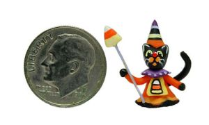FOLK ART HALLOWEEN WITCH BLACK CAT CANDY CORN by WEE-OOAK-MINIATURES