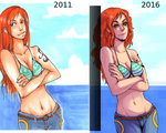 Redraw: Nami 2011 vs. 2016 by Ci-chan91