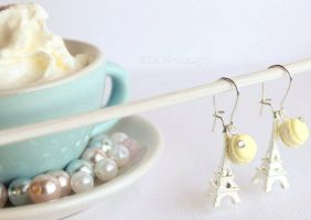 French pastel yellow Macaroon Earrings by LaNostalgie05