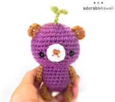 leafy purple brown bear plush 2 by adorablykawaii