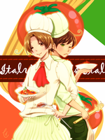 Italy and Romano by nashiduki
