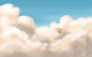 Airship In Clouds by KingAgrian