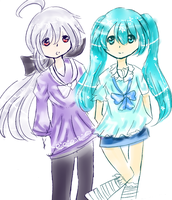 a crappy picture of miku and haku by RainbowIcePop