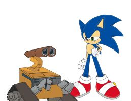 Sonic VS Wall-E by SonicTheBlueStar