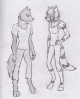 Evo and my new OC by Nieona
