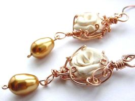 Gilded Posy Earrings no. 3 by sojourncuriosities