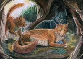 Cats family by Shesterrni