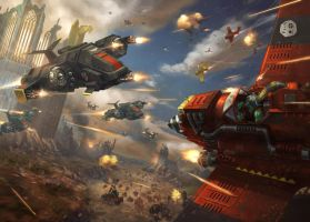blacktemplars aircraft vs ork aircraft by LieSetiawan