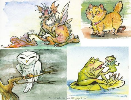 Watercolor critters by kiki-doodle