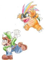 Iggy pounces on Luigi by EquidnaRojo