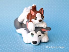 Husky mama with baby by SculptedPups