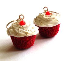 Red Velvet Cupcake Earrings by FatallyFeminine