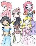 Disney Girls. Coloring by kurenai-anemone