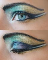 Gold and Blue Eye Makeup by stargate4ever23