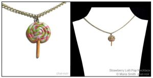 Strawberry Lolli Pop Necklace by chat-noir