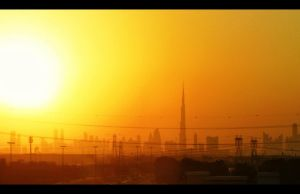 Dubai at sunset by SebKaiser