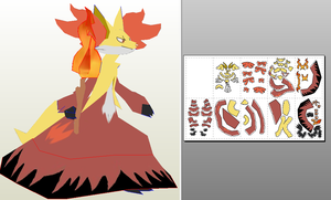delphox papercraft unfold by javierini