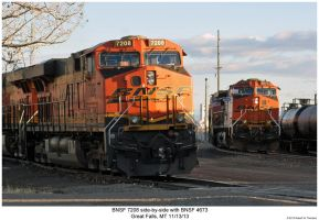 BNSF 7208 side-by-side with BNSF 4673 by hunter1828