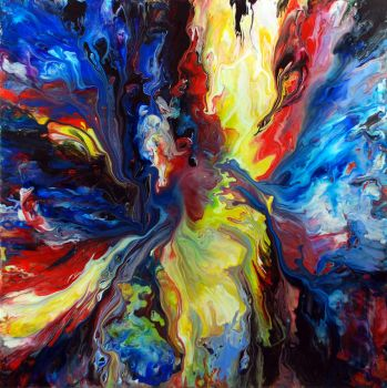 Colourful Acrylic Fluid Painting by Mark-Chadwick