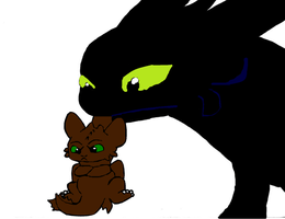 Toothless Holding Hachling Hiccup by hiccupandtoothless22