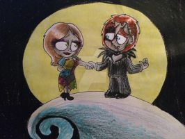 Chucky and Tiffany as Jack and Sally by Mika-Raccoon