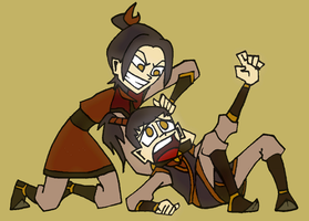 Sibling Rivalry-Azula and Zuko by aerettberg