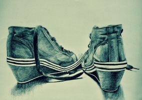 Drawing shoes by pencil by Annareii