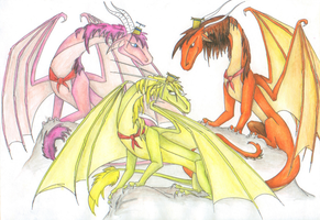Lazlo, Clam and Raj as dragons by tiger-Sanga