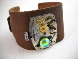 Steampunk Leather Cuff by Nite0wlStudios