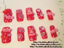 Red Dress Party - Nail Set by BubbleCafe