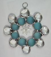 Glass snowflake with snowflake charm by Lokichica