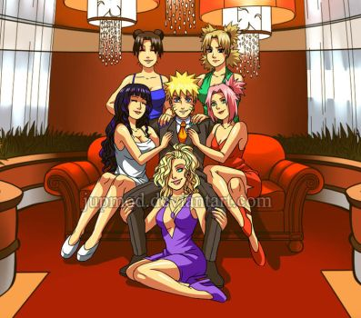Naruto: Casino Boss Close-up (Harem) by JuPMod