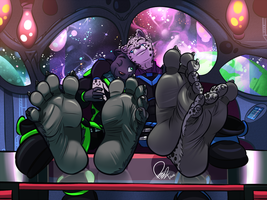 Commission: Cuddling In Spaceship by benj24