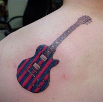 Red and Blue Striped Guitar by Mr-Taboo