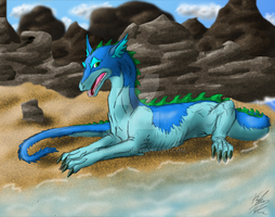 Dragon Resting on a Beach by LoboSong