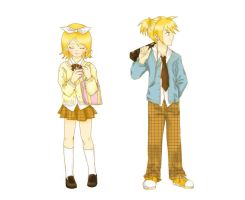 Rin and Len - School days by Nisai
