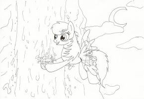 Pony getting water - lineart by IcelectricSpyro
