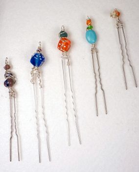 Group of beaded hairpins by hillarybewilson