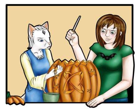 Amelia and Simone Carving by Maskedlioness