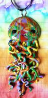 Long Rainbow Jellyfish Necklace by BlackMagdalena