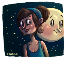 flirting with the moon ^^ by Iraville